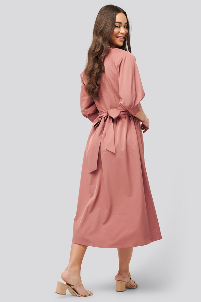 Belted Balloon Sleeve Dress Dusty Pink