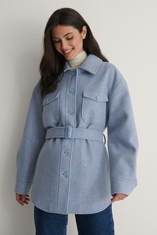 Light Blue Belted Chest Pocket Jacket