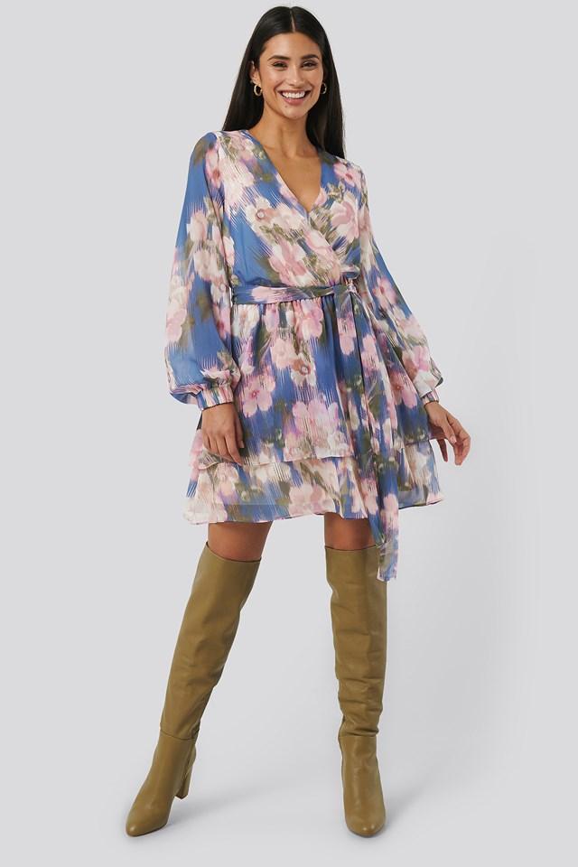 Belted Chiffon Dress Blue Flower