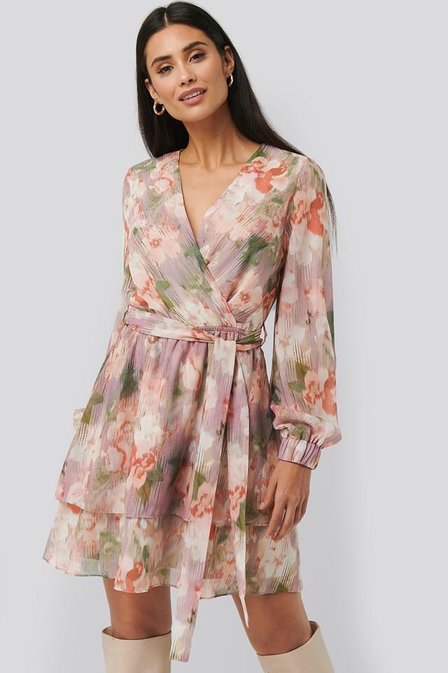 Belted Chiffon Dress Pink Flower