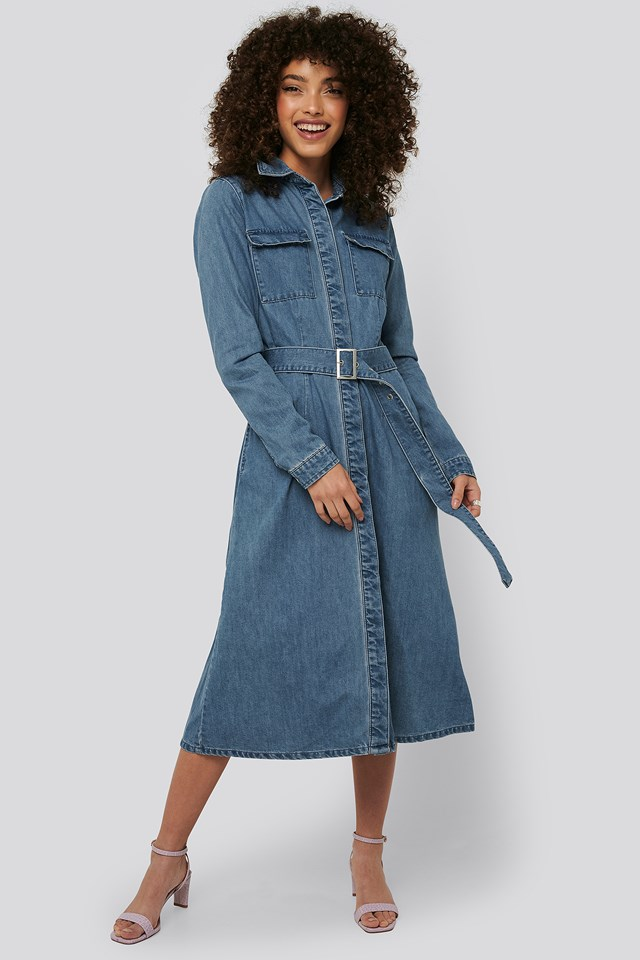Belted Denim Shirt Dress Mid Blue