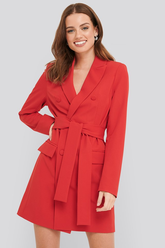 Belted Double Breasted Blazer Dress NA-KD Classic