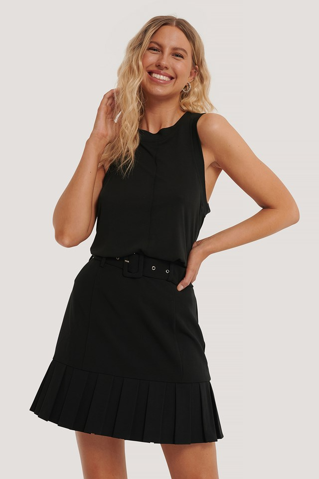 Belted Frill Mini Skirt Black
