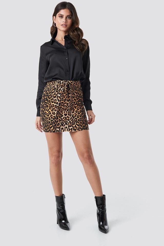 Belted Leopard Denim Skirt NA-KD Trend