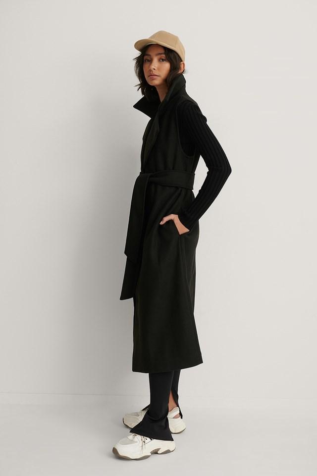 Belted Long Vest Black
