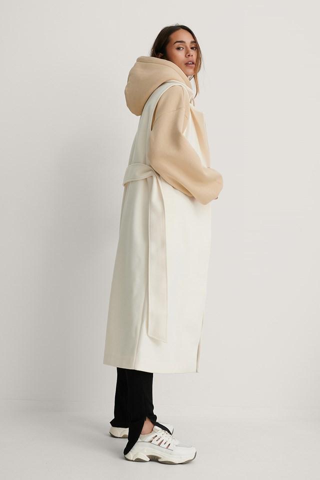 Belted Long Vest Cream