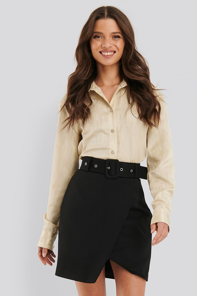 Belted Overlap Mini Skirt Black