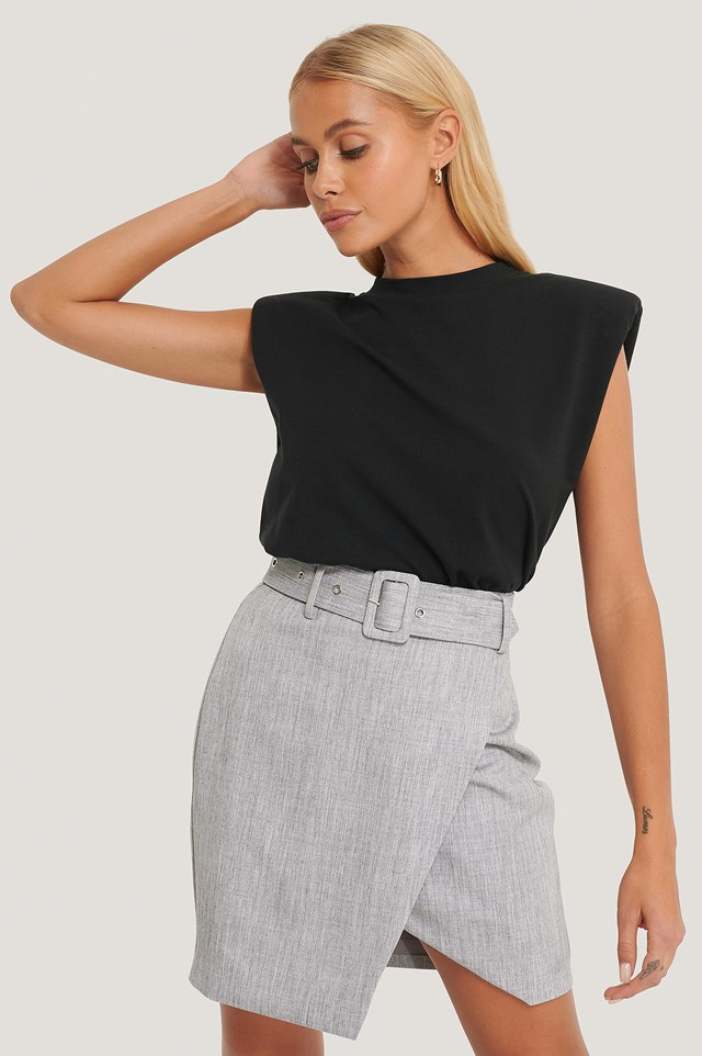 Belted Overlap Mini Skirt Grey