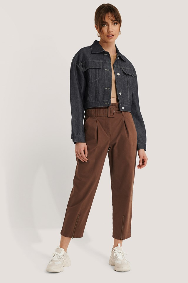 Brown Belted Paperbag Pants