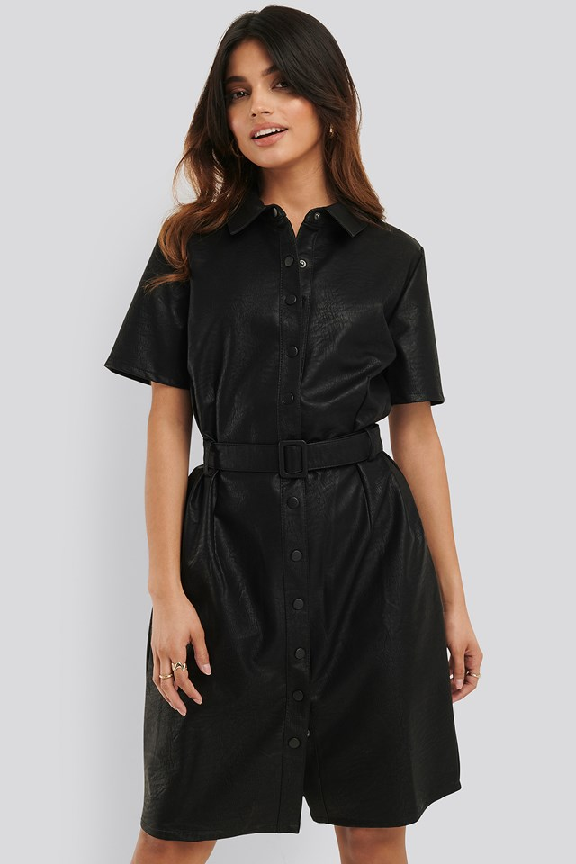 Belted PU Dress Black