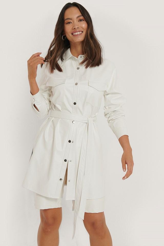 White Belted Pu Shirt Dress