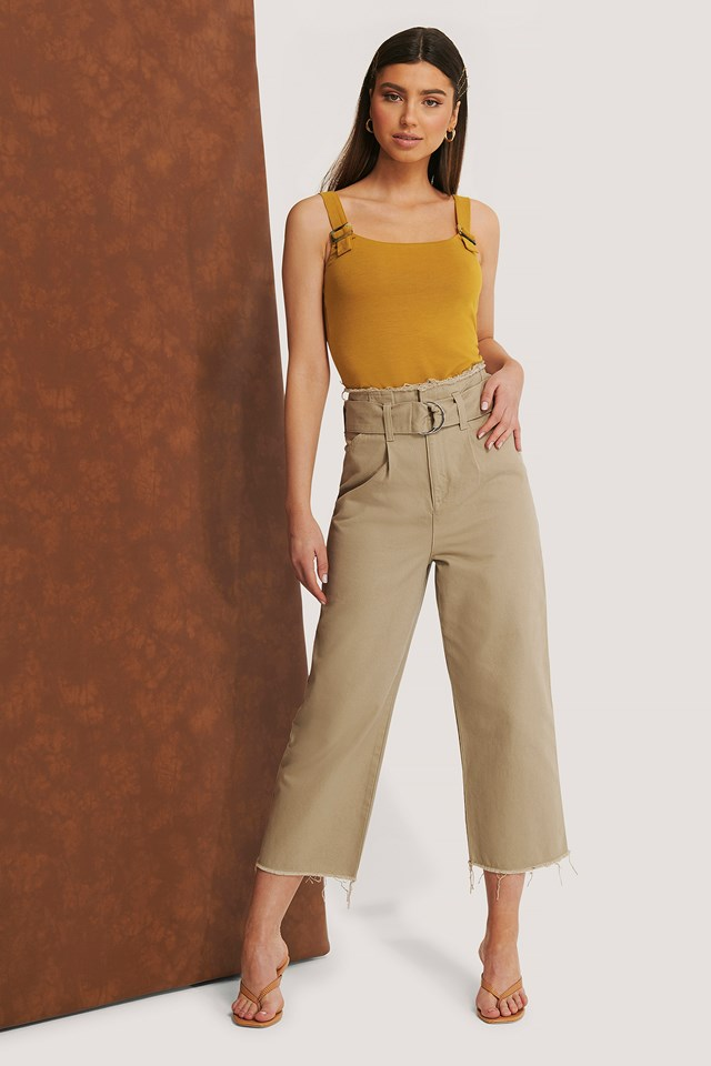 Organic Belted Raw Hem Jeans Beige