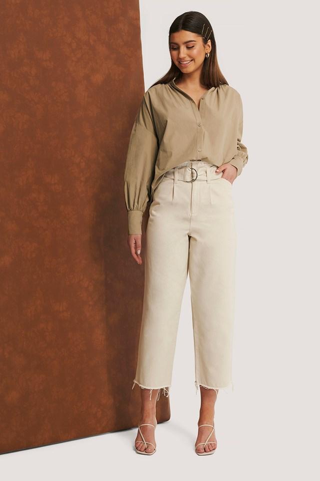 Organic Belted Raw Hem Jeans Light Beige