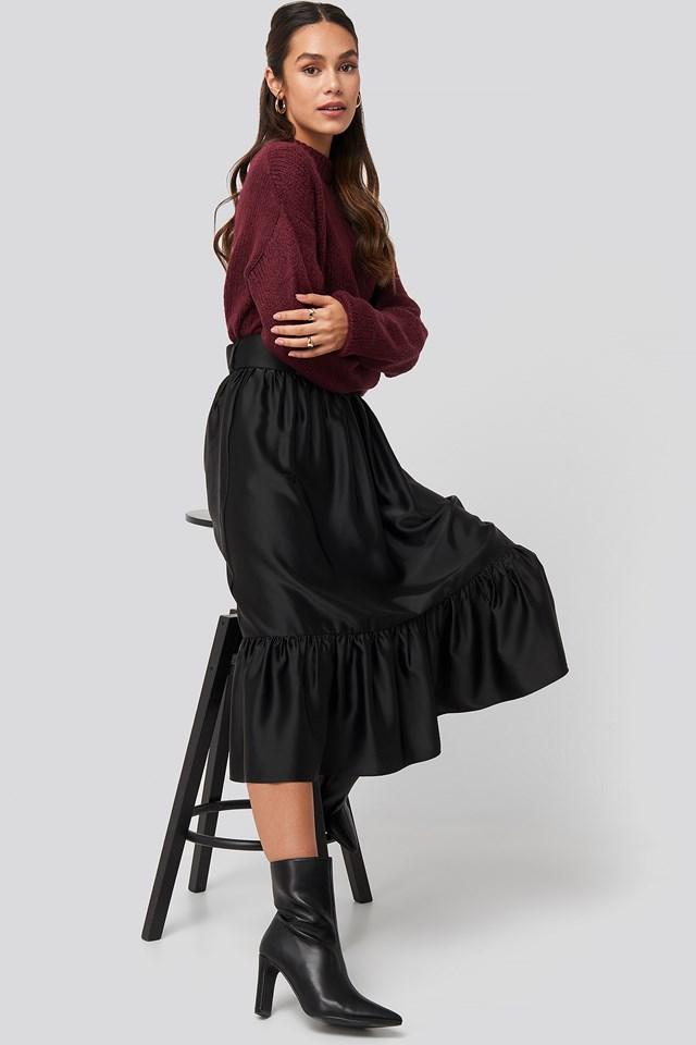 Belted Satin Skirt Black