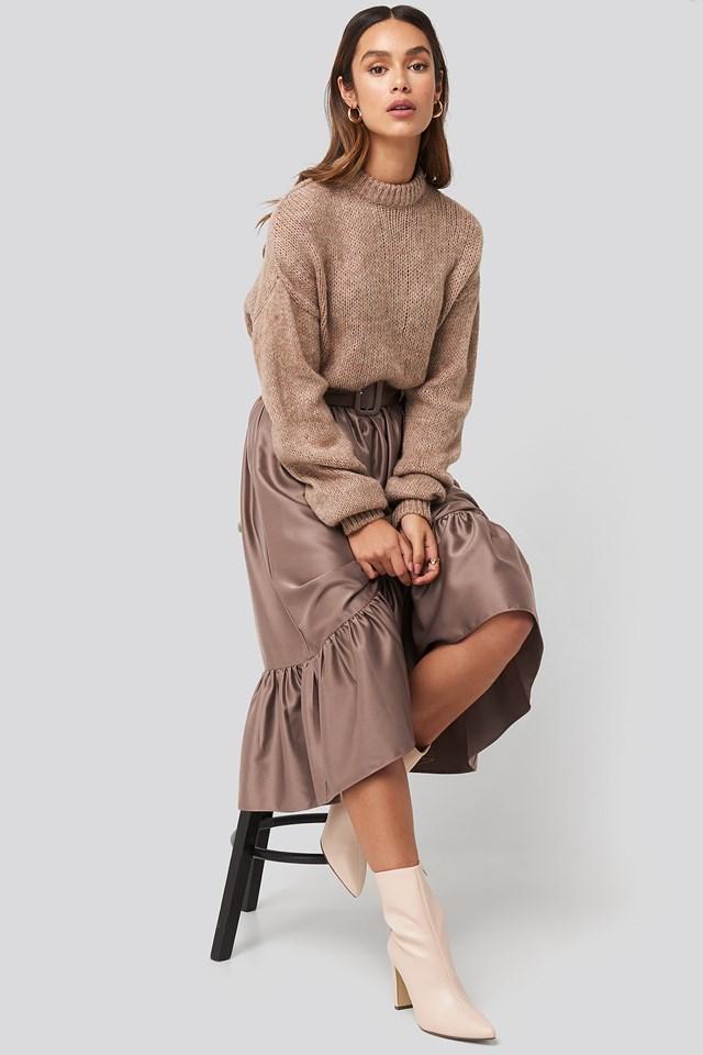 Belted Satin Skirt NA-KD Trend