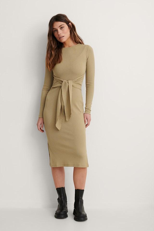 Beige Belted Slit Detail Dress