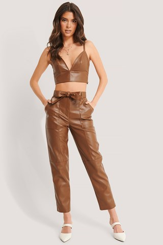 Brown Belted Straight PU Pants