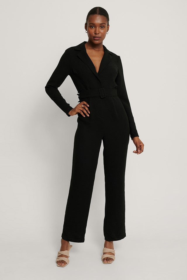 Belted Straight Leg Jumpsuit Black