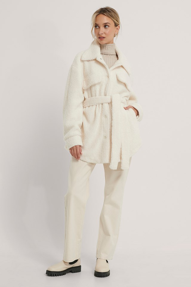 Belted Teddy Jacket Offwhite