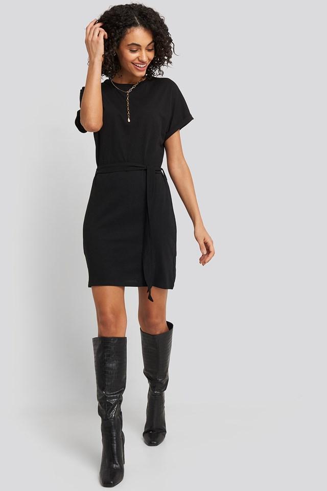 Belted T-shirt Dress Black