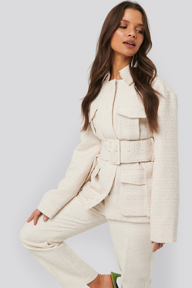 Belted Tweed Jacket NA-KD Classic