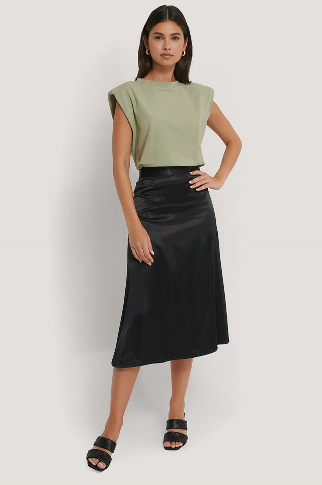 Bias Cut Satin Midi Skirt Black