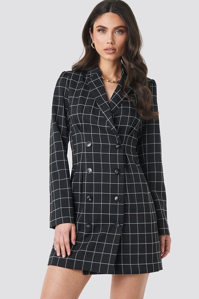 Big Check Blazer Dress Black/White Check