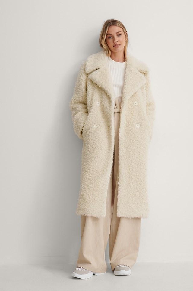 Cream Big Collar Fluffy Coat