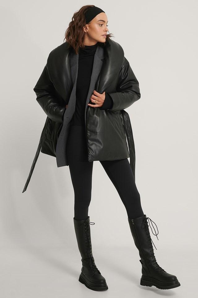 Big Collar Padded Jacket Black