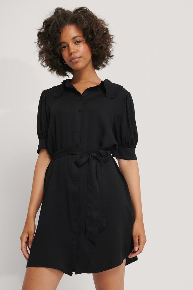 Big Collar Short Sleeve Shirt Dress Black