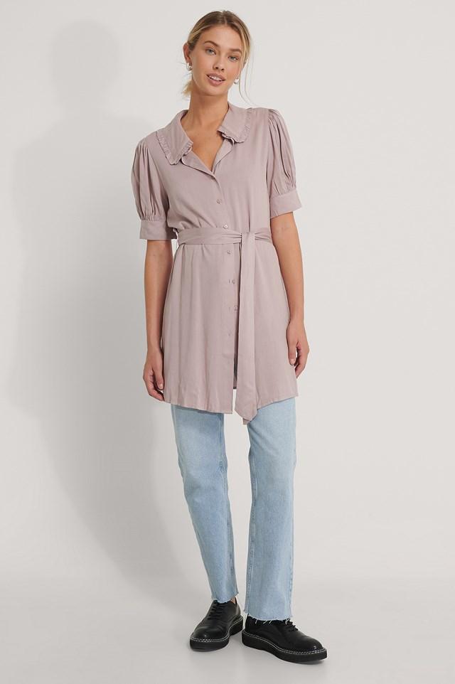 Big Collar Short Sleeve Shirt Dress Dusty Pink