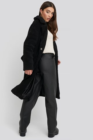 Black Big Collar Teddy Coat