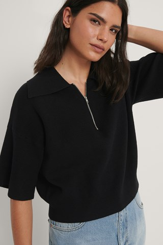 Black Big Collar Zipped Knitted Sweater