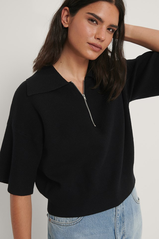 Black Big Collar Zipped Knitted Sweater