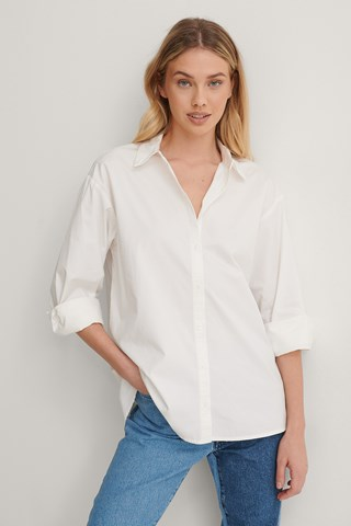 White Organic Big Cuff Oversized Shirt