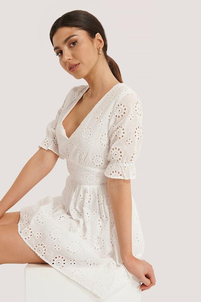 Big Flower Anglaise Dress White
