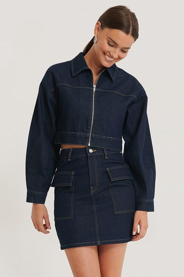 Big Pocket Denim Skirt Dark Blue