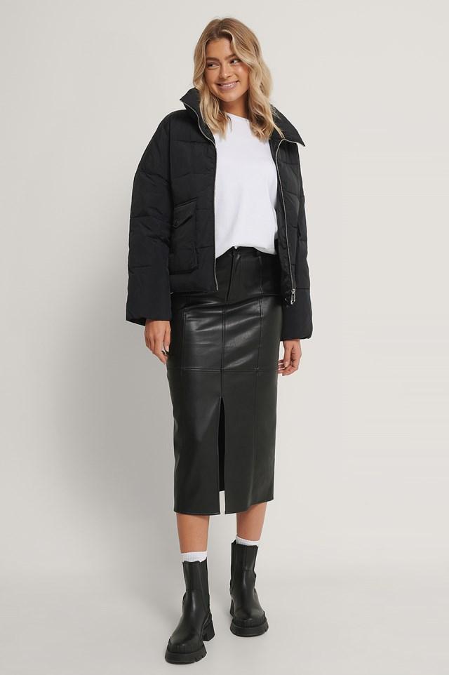 Big Pocket Padded Short Jacket Black