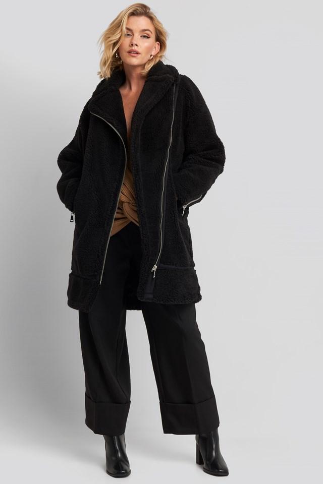 Biker Long Teddy Coat Black