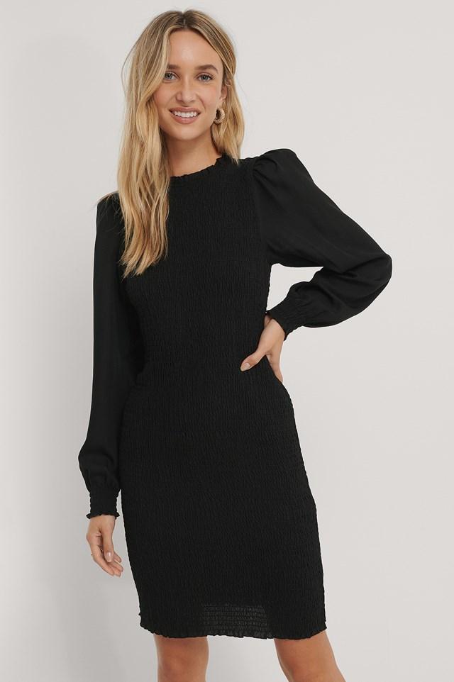 Bodycon Smocked Dress Black