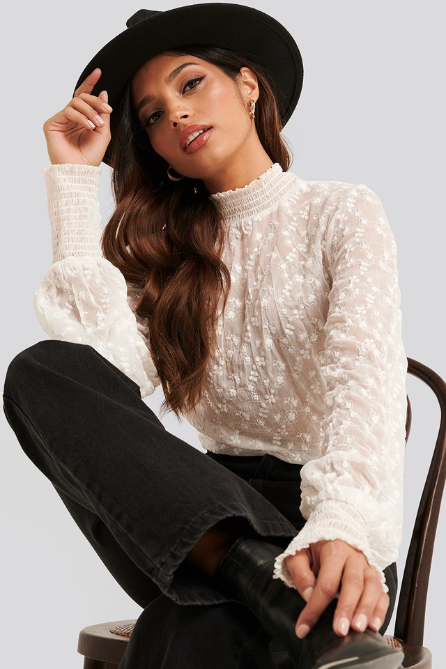 Embroidery Smock Blouse White