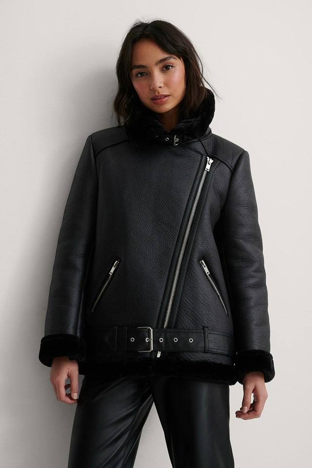 Black Bonded Aviator Jacket