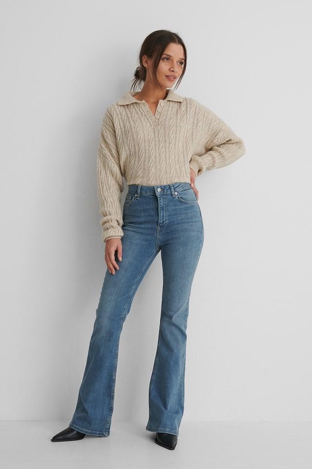 Bootcut High Waist Skinny Jeans Mid Blue