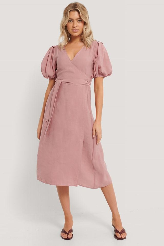 Bow Wrap Dress Pink
