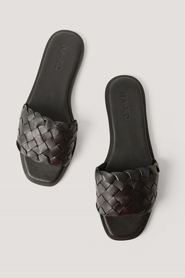 Braided Leather Slippers Black