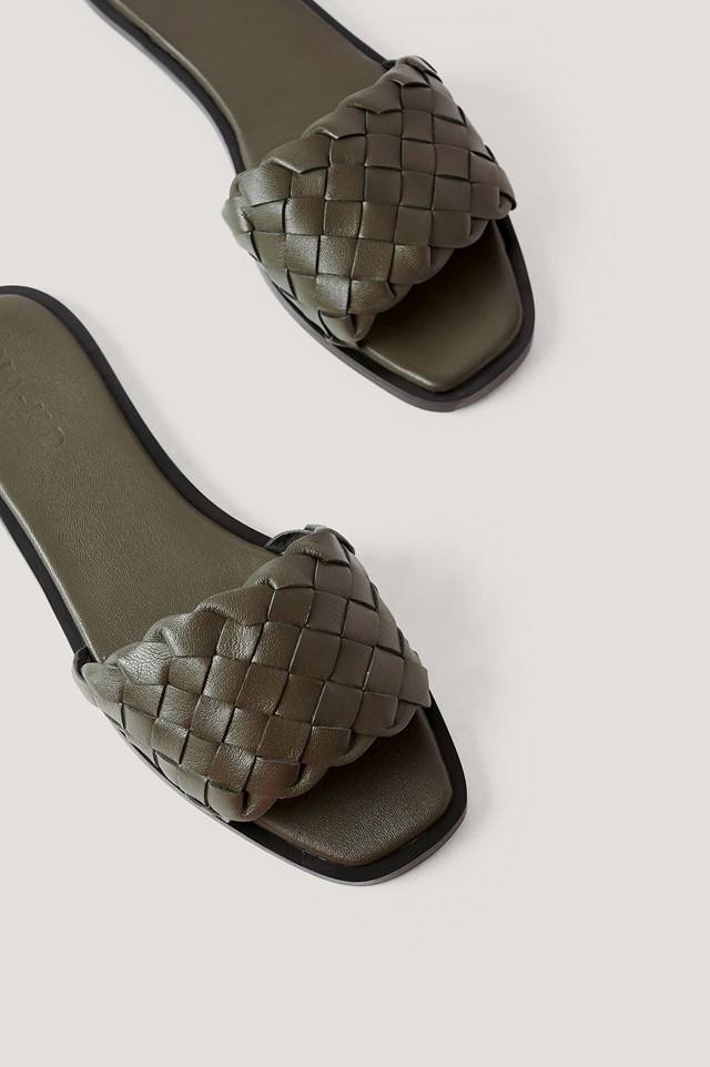 Braided Leather Slippers Khaki