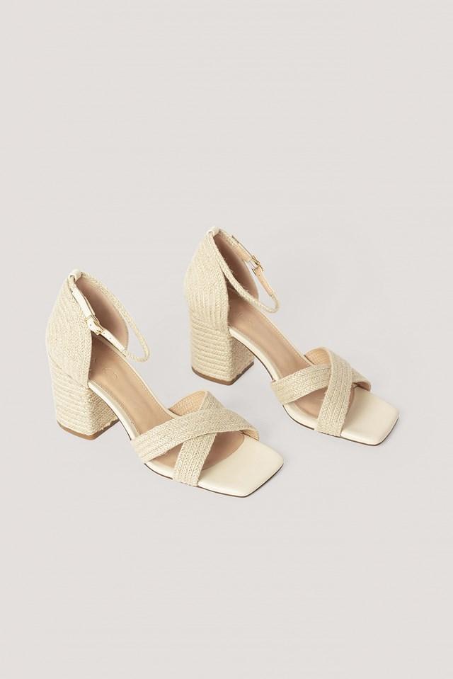 Braided Raffia Heels Natural