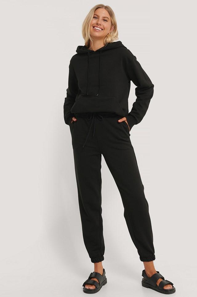 Organic Brushed Drawstring Sweatpants Black