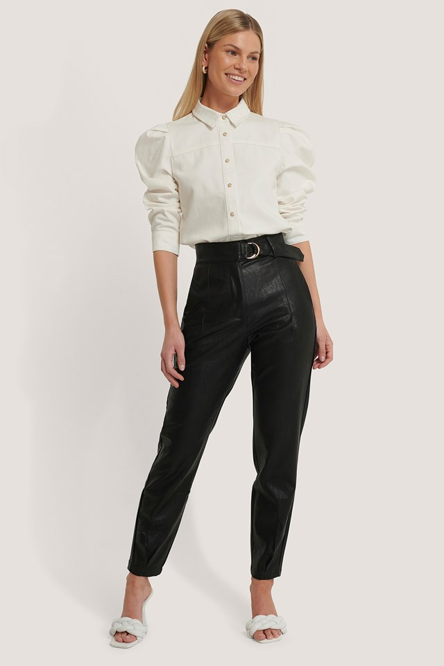 Buckle Belt Detailed Pu Pants NA-KD Trend