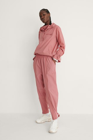 Dusty Pink Buckled-ankle Track Pants
